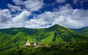 Картинки Небо Горы Церковь Грузия Облако Gudauri, Mtskheta-Mtianeti, Amaglebis Church Природа