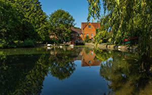 Фотография Англия Здания Речка Пирсы Whitchurch Природа