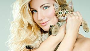 Фотографии Коты Блондинка Лицо Котята Руки Красивые Девушки Животные
