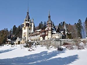 Фотография Румыния Зимние Замки Снег Peles castle, Transylvania Города