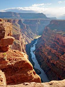 Картинки Гранд-Каньон парк Штаты Парки Горы Речка Каньон Скала
