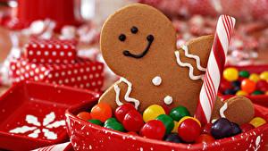 Фото Новый год Печенье Конфеты Сладости Пища