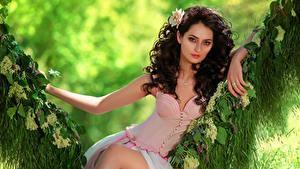 Картинка Шатенки Сидящие Платье Взгляд Качели Красивый девушка