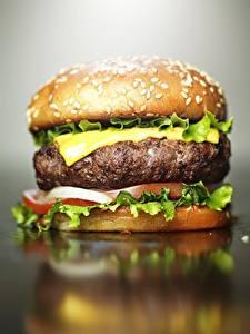 Фотография Гамбургер Вблизи Сыры Мясные продукты