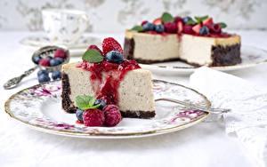 Фото Малина Кусок Тарелка Cheesecake Пища