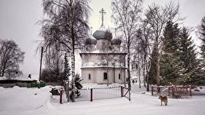 Фото Россия Храмы Церковь Зимние Снег Забор Belozersk Vologda Oblast Города