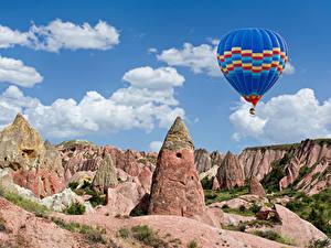 Фотография Турция Парки Скала Воздушный шар Cappadocia Goreme national park Природа