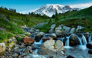 Картинки Штаты Парки Горы Водопады Камни Пейзаж Ручей Mt Rainier National Park Природа