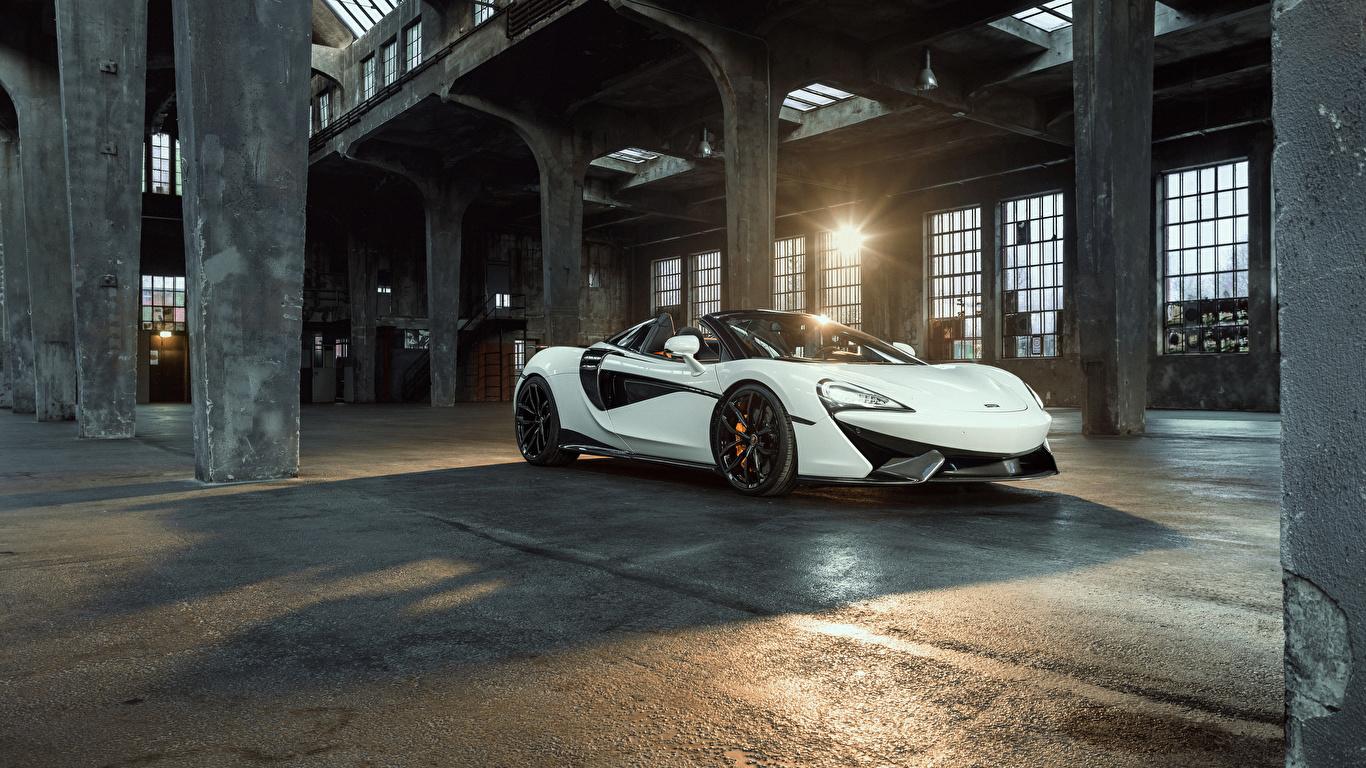 Картинка McLaren 2018 Novitec 570S Spider белые машины Металлик 1366x768 Макларен белых Белый белая авто машина автомобиль Автомобили