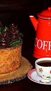 Обои Торты Шоколад Кофе Рождество Чайник Черный фон Чашка