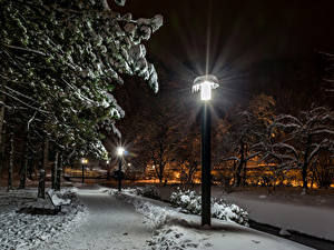 Фотографии Загреб Хорватия Парки Зима Снега Дерева Уличные фонари В ночи Samobor Природа