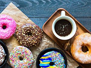 Картинки Пончики Горячий шоколад Доски Чашка Дизайн Пища