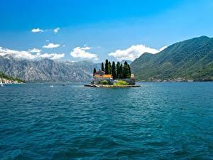 Фотография Черногория Остров Гора Залив Bay Kotor, Perast Природа