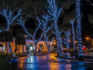 Обои Новый год Праздники Италия Здания Деревьев Гирлянда Ночью Casamicciola Города