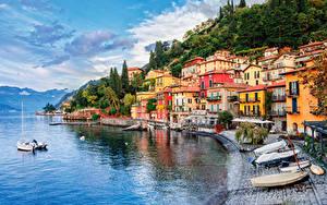 Фотографии Италия Озеро Побережье Здания Причалы Лодки Lake Como Milan Города