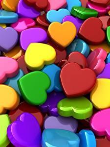 Картинка Текстура Сердца Разноцветные 3D Графика