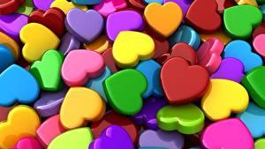 Картинка Текстура Сердечко Разноцветные 3D Графика