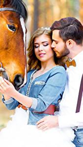 Картинка Мужчины Любовь Лошадь Любовники Свидание Девушки