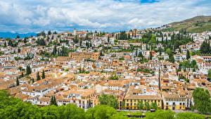 Обои Испания Дома Крыше Granada Andalusia город