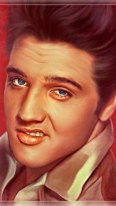 Картинки Элвис Пресли Рисованные Мужчины Лица Смотрит Красивые Музыка Знаменитости