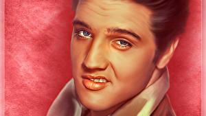 Картинки Элвис Пресли Рисованные Мужчины Лицо Смотрит Красивые Музыка Знаменитости