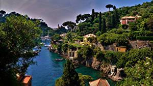 Обои Италия Лигурия Здания Пирсы Залива Portofino город