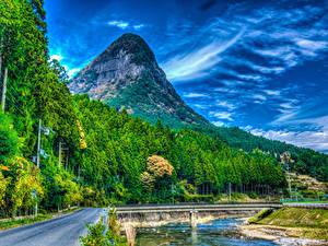 Картинка Япония Горы Парки Речка Мосты Леса Дороги HDRI Nara Park Природа