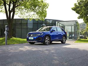 Фотографии Volkswagen CUV Синие Металлик 2020 Tayron GTE Автомобили