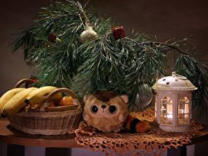 Фото Новый год Натюрморт Бананы Свечи На ветке Корзинка Пища