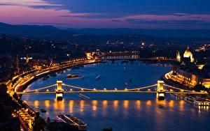 Фотография Венгрия Будапешт Речка Мосты Ночью Danube, Chain bridge section Города