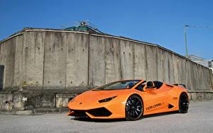 Картинка Ламборгини Оранжевый Металлик Родстер 2016-18 VOS Performance Huracan Spyder автомобиль
