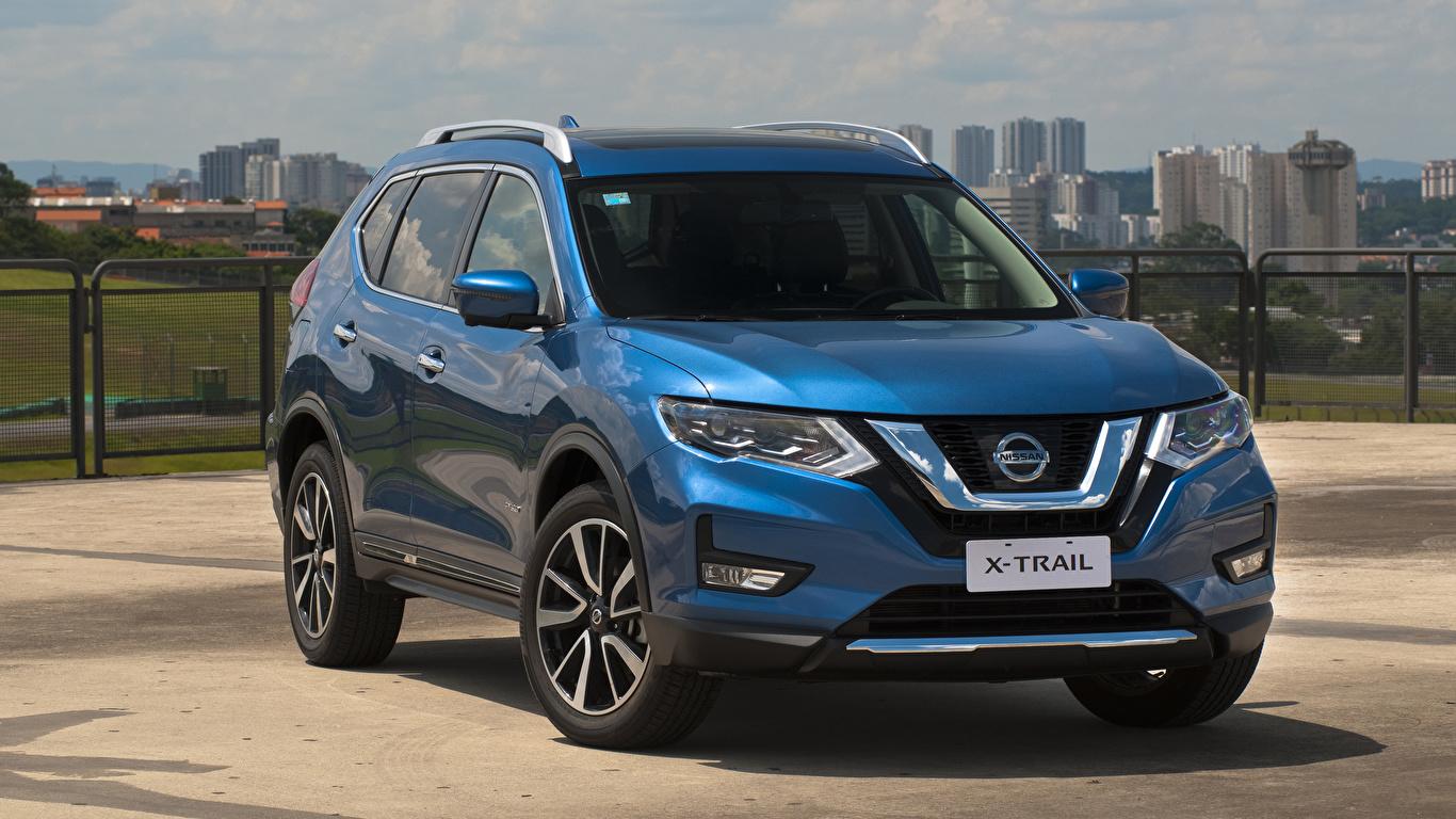 Обои Nissan 2019 X-Trail Hybrid Latam Гибридный автомобиль голубая авто 1366x768 Ниссан голубых голубые Голубой машина машины автомобиль Автомобили