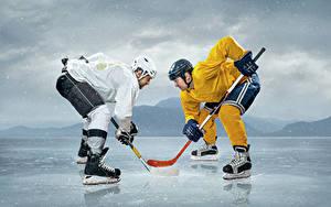 Обои Хоккей Мужчины Каток 2 Униформа Шлем Спорт
