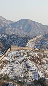 Обои Китай Горы Зима Великая Китайская стена Снег