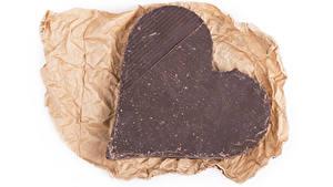 Фотография День всех влюблённых Шоколад Сладкая еда Белый фон Сердечко