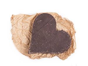 Фотография День всех влюблённых Шоколад Сладкая еда Белый фон Сердечко Еда