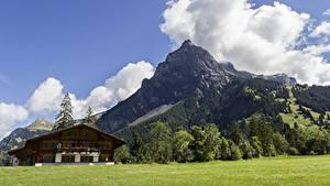 Фотографии Швейцария Горы Пейзаж Альп Облака Поселок Kandersteg, Canton of Bern