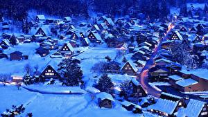 Картинка Япония Здания Зима Вечер Деревня Снег Shirakawa-go and Gokayama