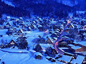 Картинка Япония Здания Зима Вечер Село Снег Shirakawa-go and Gokayama город