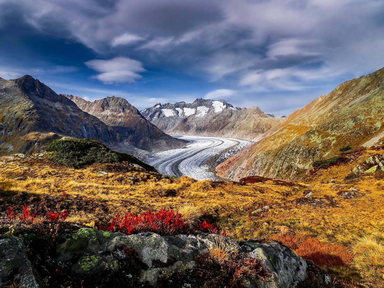 Картинки альп Швейцария Aletsch Glacier Горы Природа 1600x1200 Альпы гора