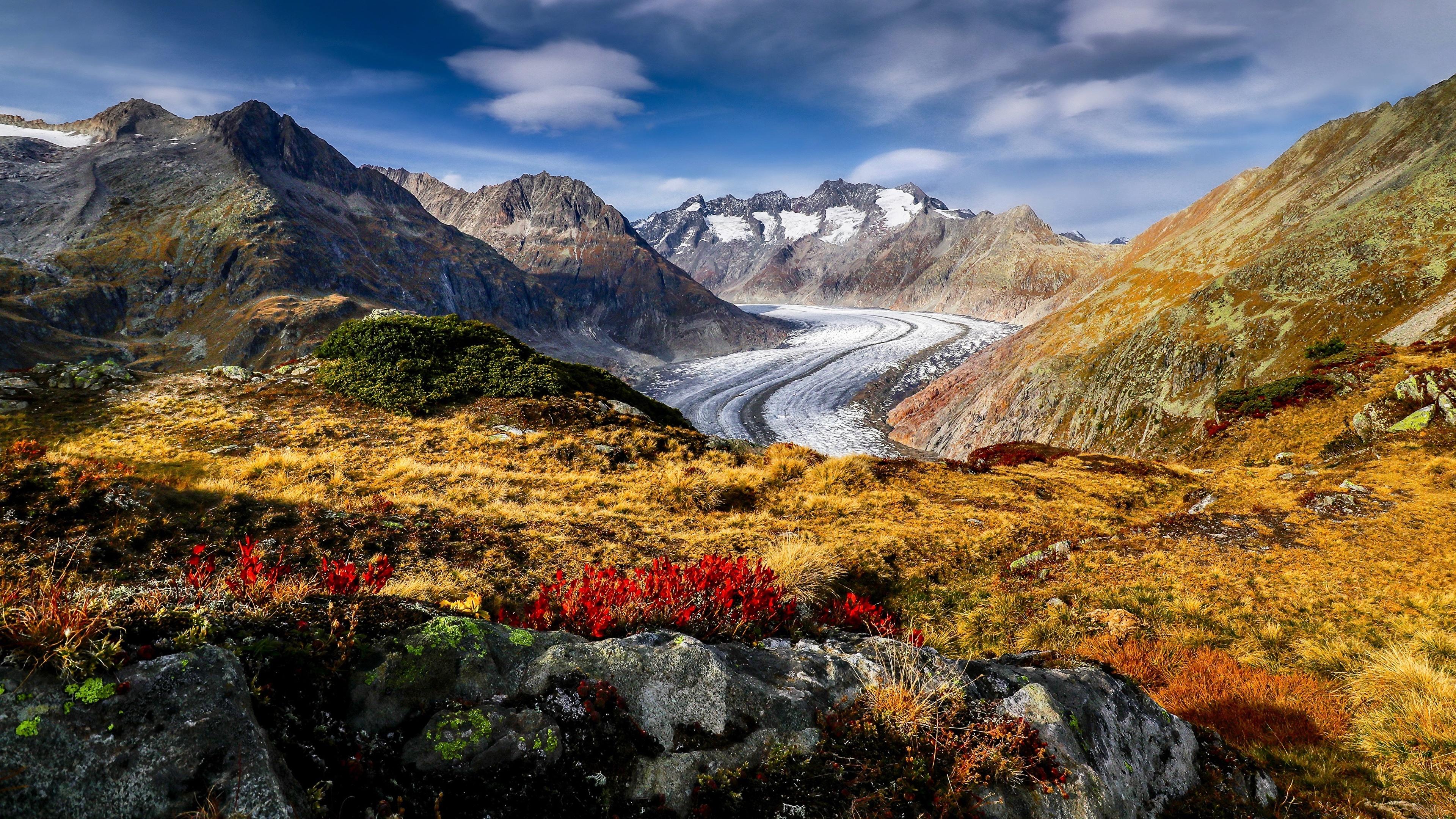 Картинки альп Швейцария Aletsch Glacier Горы Природа 3840x2160 Альпы гора