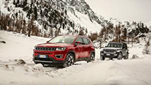 Обои Джип Двое SUV Металлик Снега Автомобили