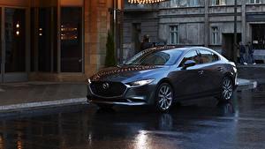 Обои Мазда Синий Металлик Седан 2020 Mazda3 машина