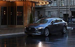Обои для рабочего стола Мазда Синяя Металлик Седан 2020 Mazda3 авто