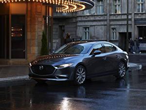 Обои Мазда Синяя Металлик Седан 2020 Mazda3 авто
