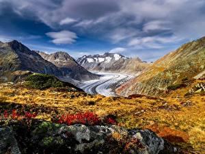 Картинки Гора Швейцария Альп Aletsch Glacier Природа