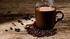 Фотография Кофе Доски Чашка Зерно Пары Еда