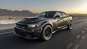 Обои для рабочего стола Dodge Черный Едущий Charger, AWD, 2019, SpeedKore, Twin Turbo Carbon авто