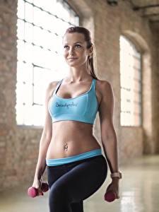 Фотография Фитнес Униформа Живот Гантеля Физическое упражнение Спорт Девушки