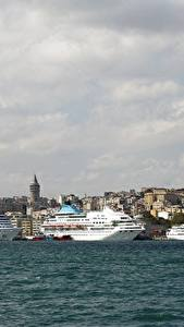 Обои Турция Стамбул Круизный лайнер Корабли Пристань Море город